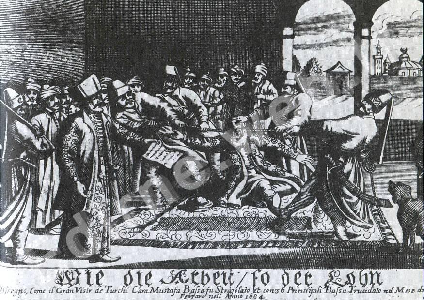 Kara Mustafa Paşa'nın ipek kuşakla 25 Aralık 1683'teki idamı