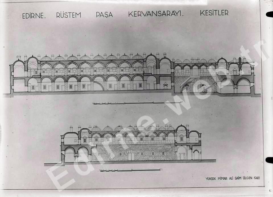 Rüstem Paşa Kervansayı, Kesitler(Yüksek Mimar Ali Saim ÜLGEN-1948)