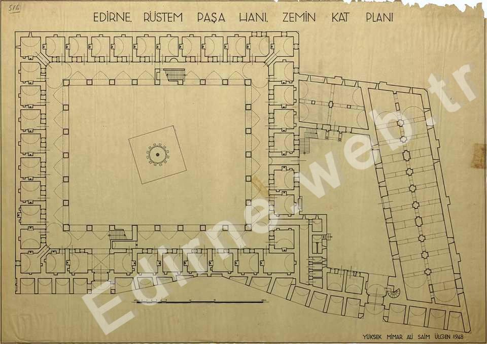 Rüstem Paşa Kervansayı, Zemin Kat Planı(Yüksek Mimar Ali Saim ÜLGEN-1948)
