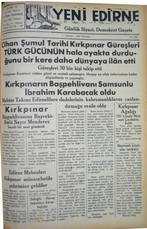 """7 HAZİRAN 1954 TARİHLİ """"YENİ EDİRNE"""" GAZETESİ"""